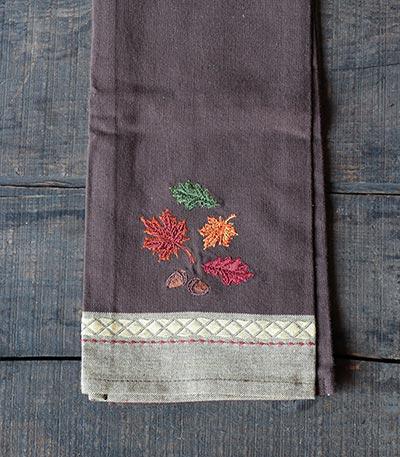 Leaves Embroidered Dishtowel