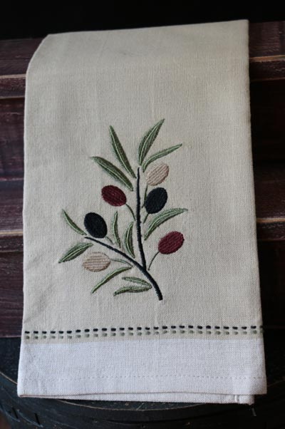 Olive Branch Embroidered Dishtowel