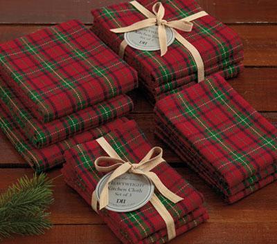 Christmas Plaid Heavyweight Dishcloths (Set of 3)