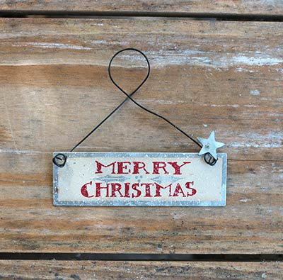 Merry Christmas Tin Sign Ornament