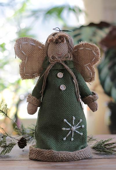 Green Burlap Snowy Angel