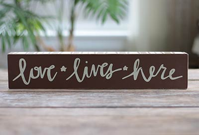 Love Lives Here Box Sign