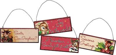 Retro Mini Sign Ornament (Set of 4)
