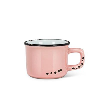 Pink Enamel Look Espresso Mugs (Set of 6)
