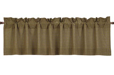 Tea Cabin Green Plaid Valance