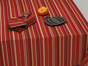 Harvest Pumpkin Stripe Tablecloth, 60 x 84