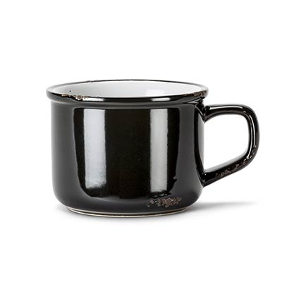 Black Enamel Look Cappuccino Mugs (Set of 6)
