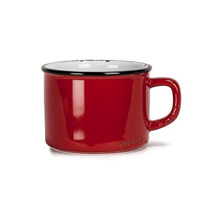Red Enamel Look Cappuccino Mugs (Set of 6)