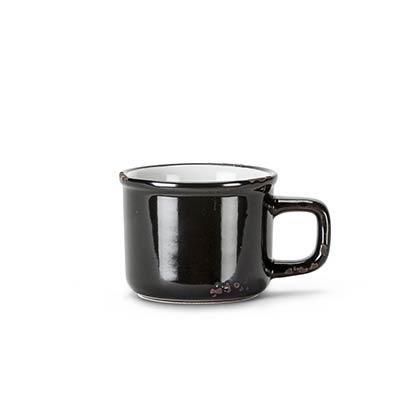 Black Enamel Look Espresso Mugs (Set of 6)
