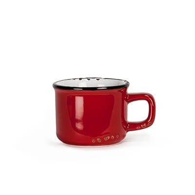 Red Enamel Look Espresso Mugs (Set of 6)
