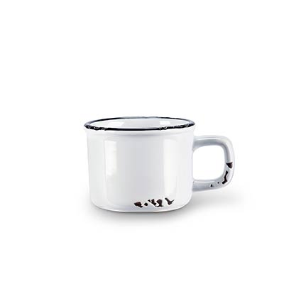 White Enamel Look Espresso Mugs (Set of 6)