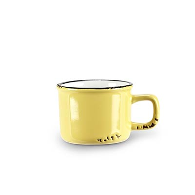Yellow Enamel Look Espresso Mugs (Set of 6)