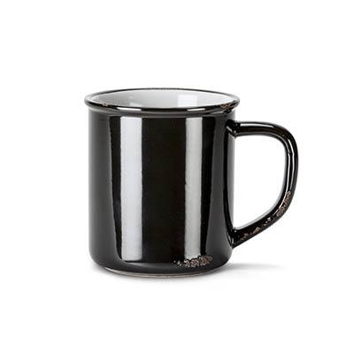 Black Enamel Look Coffee Mugs (Set of 6)