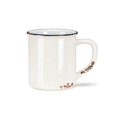 Ivory Enamel Look Coffee Mugs (Set of 6)