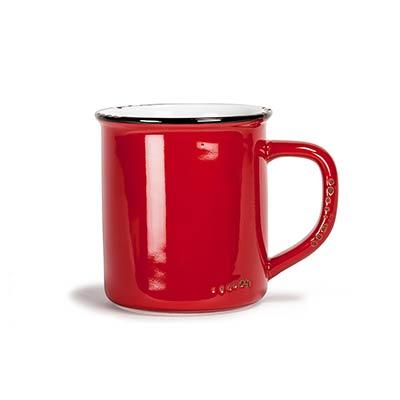 Red Enamel Look Coffee Mugs (Set of 6)