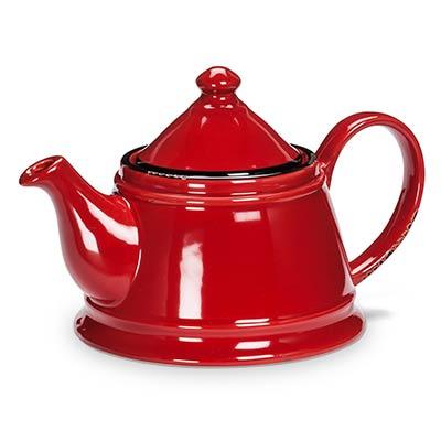 Red Enamel Look Teapot