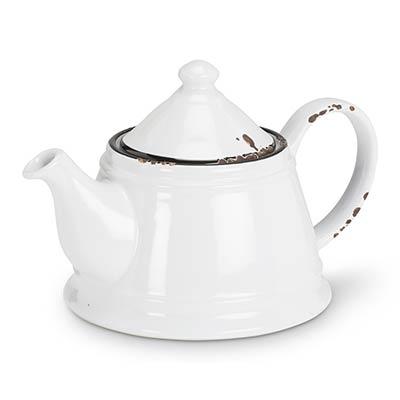 White Enamel Look Teapot