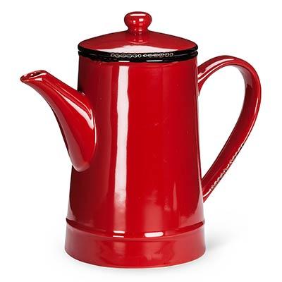 Red Enamel Look Coffee Pot