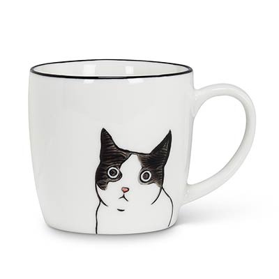 Peeking Cat Face Mugs (Set of 4)