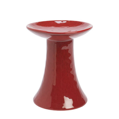 Red Stoneware Pillar Candle Holder - Large