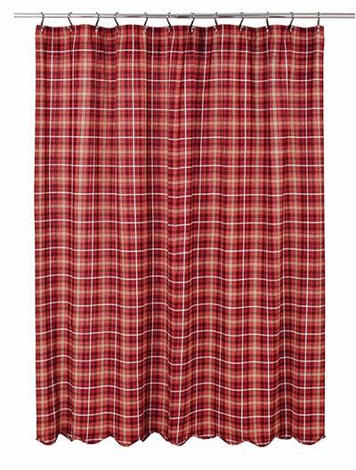 Braxton Red Plaid Fabric Shower Curtain