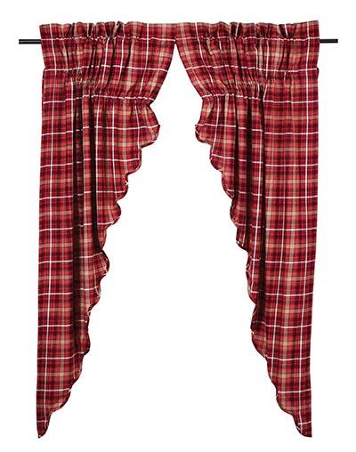 Braxton Red Plaid Prairie Curtain