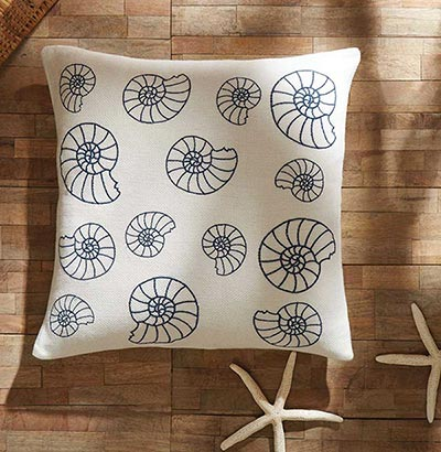 Seashell Enchantment Decorative Pillow With Down Fill The Weed Patch Custom Seashell Pillows Decorative