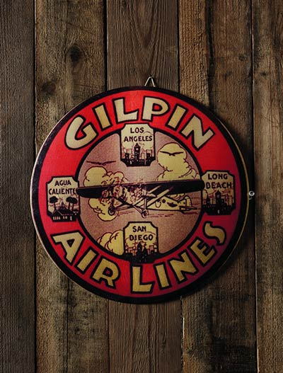 Antiqued Airlines Tin Sign