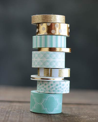 Patterned Washi Tape in Mint & Gold (Pack of 8)