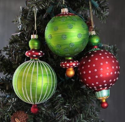 Green and Red Finial Ornament
