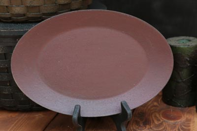 Distressed Oval Tray - Red