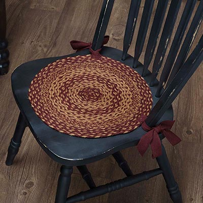 Burgundy and Tan Braided Chair Pads (Set of 6)