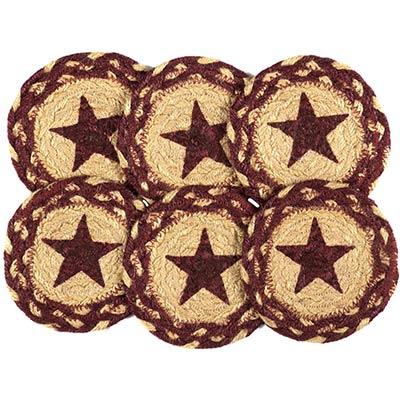 Burgundy Star Braided Coasters (Set of 6)