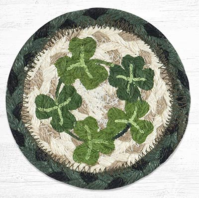 Bless This Home Shamrock Braided Coaster