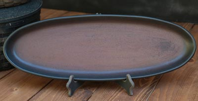Two-tone Oval Tray - Red and Black