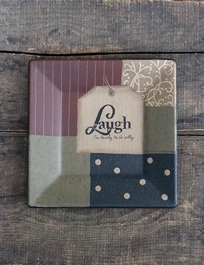Laugh Inspirational Tag Square Plate