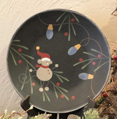 Festive Mouse Plate with Light Bulbs