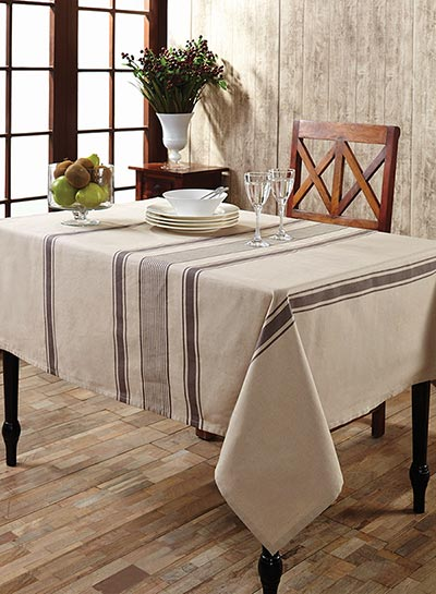 Charlotte Slate Cotton & Linen Tablecloth - Rectangle (57 x 80 inch)