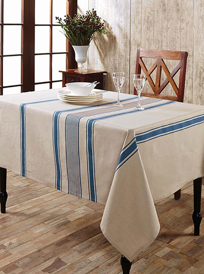 Charlotte Azure Cotton & Linen Tablecloth - Rectangle (57 x 80 inch)