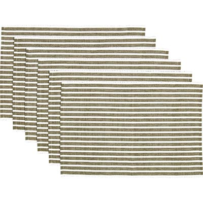Harmony Olive Ribbed Placemats (Set of 6)