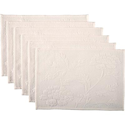 Carly White Quilted Placemats (Set of 6)