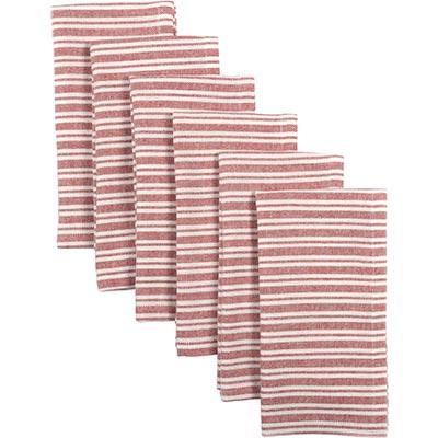 Classic Stripe Red Napkins (Set of 6)