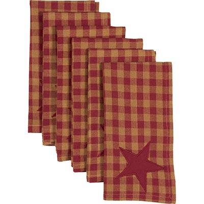 Burgundy Star Napkins (Set of 6)