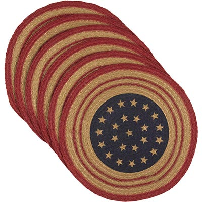 Liberty Stars Flag Braided Placemats (Set of 6) - Round
