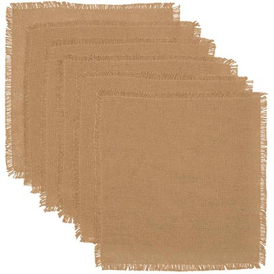 Burlap Natural Square Placemats (Set of 3)