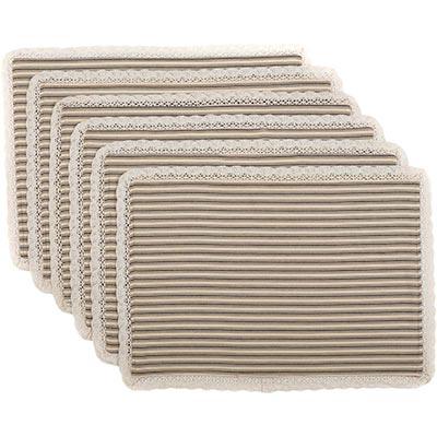 Kendra Stripe Black Placemats (Set of 6)