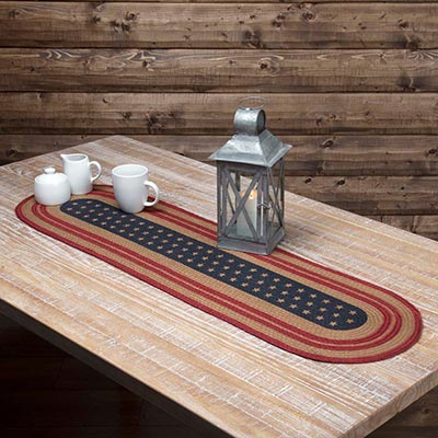 Liberty Stars Flag Braided Table Runner - 48 inch