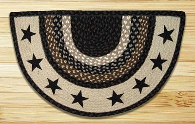 Black Stars Half Moon Braided Jute Rug