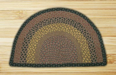 Brown, Black, and Charcoal Half Moon Braided Jute Rug - Large