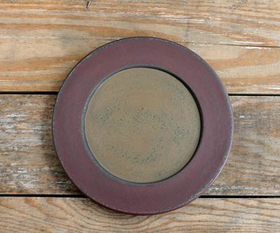 Burgundy & Mustard Distressed Plate - 9.5 inch